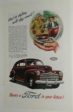 1946 FORD advertisement, maroon Ford coupe, crystal ball