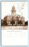 Stockton, CA - RARE c1909 VIEW OF COURT HOUSE & HORSE CARRIAGE - POSTCARD - S4
