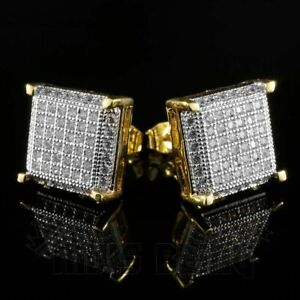 18K Gold Flooded Out Iced Simulate Diamond Micro pave AAA Earring Stud Square