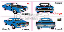 Chrysler Valiant Charger R/T - BLUE - Sticker 4 LARGE STICKERS