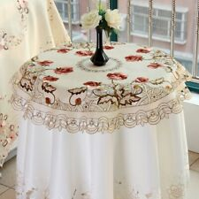 Round Satin Fabric Tablecloth Embroidered Wedding Party Decor Table Cover 33inch