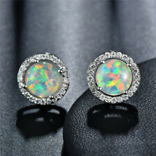 8MM Round White Fire Opal CZ Stud Earrings White Gold Women Wedding Jewelry Gift