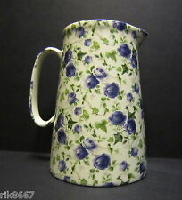 Heron Cross Pottery Ivy Rose Blue 4 Pint English Milk Jug very big (vase)