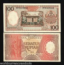 INDONESIA 100 RUPIAH P97 1964 WATER BUFFALO UNC CURRENCY MONEY BILL BANK NOTE
