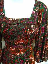 BETSEY JOHNSON NY Womens Floral Boho Peasant 3/4 Sleeve Ruched Jersey Dress 2