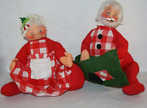 VINTAGE 1971 ANNALEE MR.AND MRS.SANTA COUNTRY CHECKERED LARGE DOLLS