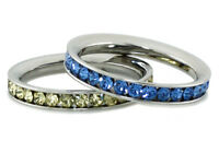 Stainless Steel Eternity Color Crystal Stackable Fashion Ring 3MM
