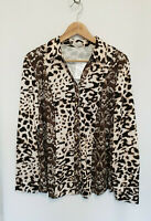 Atelier Brown Long Sleeve Smooth Jersey Leopard Print Shirt Size 20