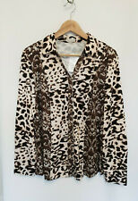 Atelier Brown Long Sleeve Smooth Jersey Leopard Print Shirt Size 18