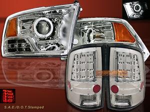 Dodge Ram 1500 2500 3500 CCFL Halo Clear Projector Headlights & LED Tail Lights