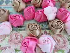 30 Pre-made Satin Ribbon Flower Rosebud Design/Craft/Bow/pink/brown/beige F62