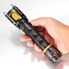Bright Led Flashlight Military Grade Tactical With Attack Head Emergency Alarm