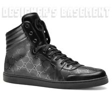 GUCCI Mens 12.5G* black CODA leather GG IMPRIME High Top Sneakers NIB Auth $560!