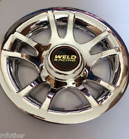 "GOLF CART Chrome Hub Cap fits 8"" Wheel New Set of 4 Caps Covers Weld Racing gold"