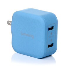 Lumsing 17W 3.4A 2-Port Foldable USB Wall Charger for Smartphones Tablets Blue