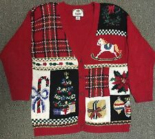 Ugly Christmas Sweater Red Cardigan M Party Shoulder Pads Gold Tree Plaid