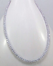 "17.5-18"" Solid  Sterling Silver D-Flawless AAA CZ Necklace Chain 38g SPARKLING"