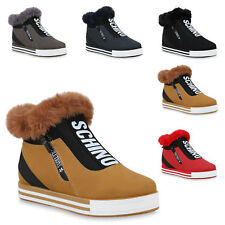 Damen Plateau Sneaker Warm Gefütterte Winter Turnschuhe 824589 Trendy Neu