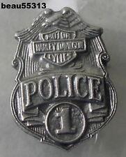 """""""OLD STOCK"""" HARLEY DAVIDSON HOG SILVER TONE POLICE LAPEL VEST HAT JACKET TAC PIN"""