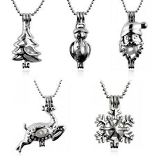 Women Charm Silver Plated Pearl Bead Cage Pendant Diffuser Locket Xmas Necklace