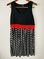 City Chic Ladies Black/Polka Dot Mid Length Dress Red Waist Detail Plus Size S