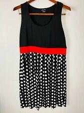 City Chic Ladies Black/Polka Dot Mid Length Dress Red Waist Detail Plus Size S