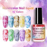 10Bottles NICOLE DIARY Nail Polish Gel Varnish Watercolor Ink Marble Nail Art