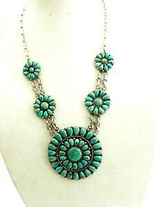 Wonderful Navajo  5 section 86 stone Turquoise Necklace Sterling Silver Signed