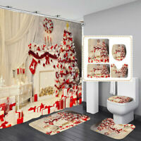 Christmas Snow Printing Waterproof Bathroom Shower Curtain Toilet Cover Mat
