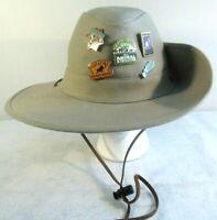 Disney World Animal Kingdom Safari Jungle Bucket Hat Adult M Side Snaps w/ Pins