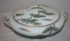 Noritake Ming Green & Gold Bonsai Tree Ceramic Covered Casserole Serving Dish