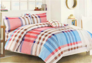 Luxury Check Print Duvet Cover Bedding Set with Pillowcases White/Blue/Pink