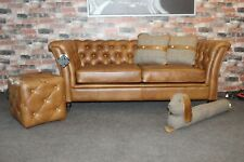 "DESIGNER ""CEASAR"" 2 SEATER SOFA IN FULLY ANILINE CERRATO BROWN LEATHER"