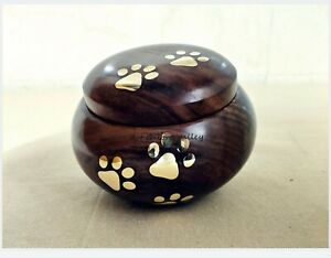 Brass Paws Rosewood Pet Urn for dogs, Cremation urn for Ashes, Oval shaped urns