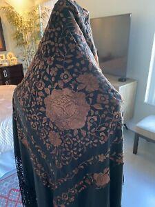 Manton De Manila Piano Shawl Black Silk Copper Brown Flowers Embroidery VINTAGE