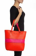 Kate Spade Grove Court Michelle PINK ORANGE Expandable Leather Travel BAG Tote