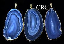 "Gold Plated Blue Agate Slice Pendant 1.5""-2.5"" Long (AP14BT)"