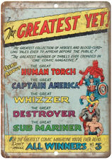 """Human Torch Captain America Whizzer Comic 10"""" X 7"""" Reproduction Metal Sign J113"""