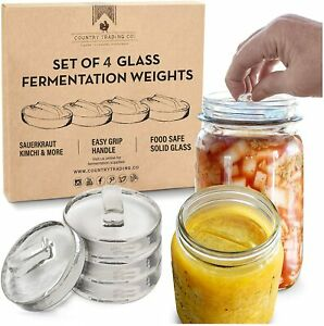 Set of 4 Glass Lactic Fermentation Weights With Easy Lift Handles Boxed NEW AU