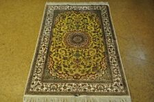 Tabriz Olive Green - Ivory New Handmade Carpet 4x6 Rugs For Livingroom Silk
