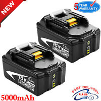 2X BL1860B2 18V Battery for Makita 5.0Ah BL1850B with LED Indicator BL1840B LXT