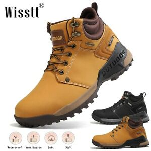 New Men's Leather Mid-Ankle Boots Military Combat Round Toe Working Hiking Shoes