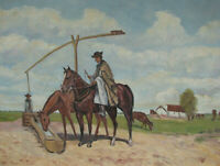 1920s HUNGARIAN COWBOY w HORSES Oil Painting - after KAMILLO KOLOZSVARY vintage
