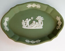 Wedgwood green jasper ware trinket dish pin tray cherubs flowers and butterfly
