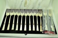 "LOT OF 12 STERLING SILVER REED & BARTON CLASSIC ROSE 6 1/2"" SALAD FORKS"