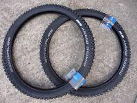 "Pair Schwalbe MAGIC MARY 26x2.35"" Addix Downhill DH MTB Tyres Wide Knobbly Tread"