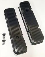 Small Block Chevy Fabricated Aluminum Valve Covers SBC 283 350 Finned BLACK