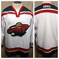 Authentic CCM Minnesota Wild Medium Hockey Jersey/Sweater White NHL Stitched