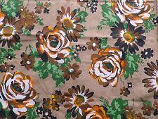 Vintage 1950's 60's Crisp Cotton Interiors Fabric Retro Big Painted Flowers