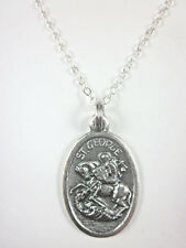 """St George Medal Italy Pendant Necklace 20"""" Chain Gift Box & Prayer Card"""